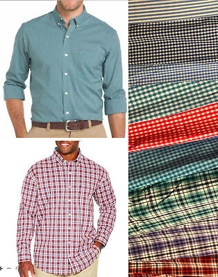Front Check - NWT Men's IZOD Big & Tall Sport Flex Shirt Long Sleeve Button Front stripe check