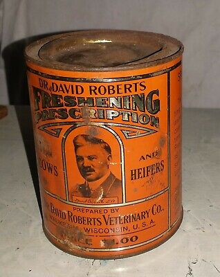 Vintage Dr. DAVID ROBERTS Cow Heifer Medicine Advertising Tin Can Veterinary
