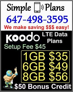 Koodo LTE Plans - 1GB 6GB 8GB Data UNLIMITED Talk & Text