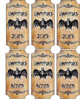 Halloween 6 large bottle glass apothecary label Vampire Blood - Blood Label Halloween