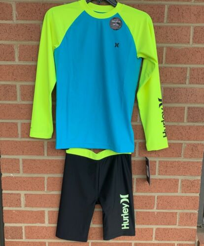 Hurley Rashguard Short Sleeve Raglan Shirt + Bottoms Chlorine Blue/Black UPF 50+