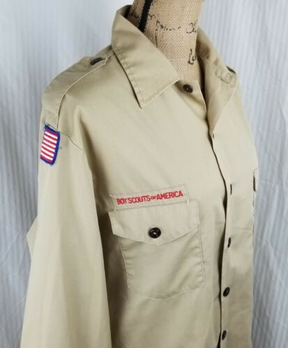 BOY / CUB SCOUT SHIRT - ADULT Large (Tan) LONG SLEEVE - OFFICIAL BSA 597L