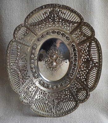 Alte große Silber 800 Schale mit Rosen Deutschland 716 g