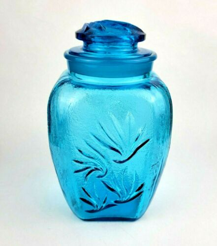 """L.E. Smith Blue Glass Canister Sandscroll 10.5"""""""