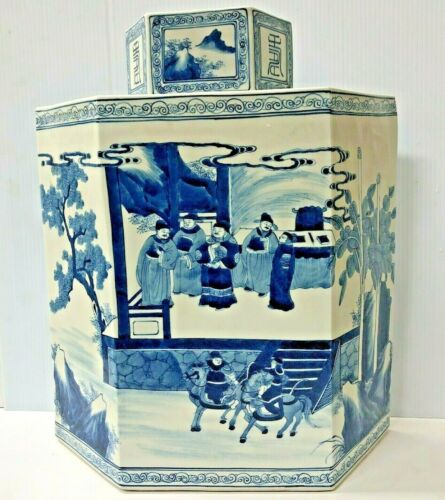 Chinese Blue And White Porcelain Hand Painted Covered Vase, Signed