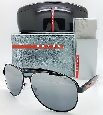 Prada sunglasses PS53PS 1AB2F2 62 Black Silver Mirror Gradient Polarized (Prada Polarized Aviator Sunglasses)