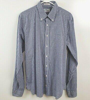 Gant Rugger Men's New Haven The Hugger Long Sleeve Button Up Shirt L Blue Plaid