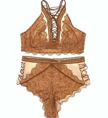 Bralette Panty - Victorias Secret Very Sexy Set Lace High Neck Bralette Bra High-Waist Panty M