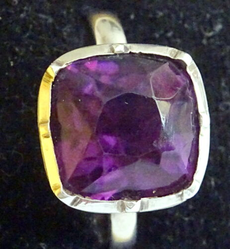 Georgian Silver and Amethyst Paste Ring size Q-R