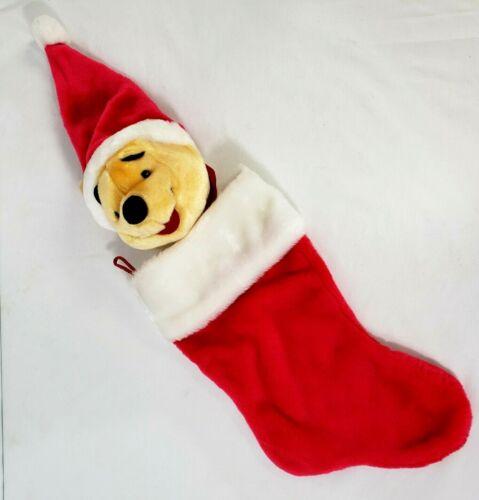 "Disney Plush Winnie The Pooh Christmas Stocking 21"" 3-D design vintage"