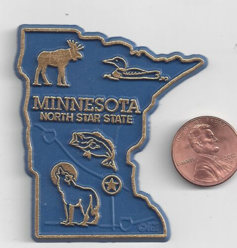MINNESOTA  MN  THE NORTH STAR  STATE   OUTLINE MAP MAGNET , NEW