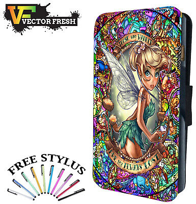 Disney Style Tinkerbell Tattoo Princess - LEATHER FLIP WALLET PHONE CASE COVER