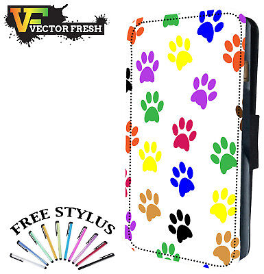 (SMALL PUPPY KITTEN CAT DOG PAW PRINTS - Leather Flip Wallet Phone Case Cover)