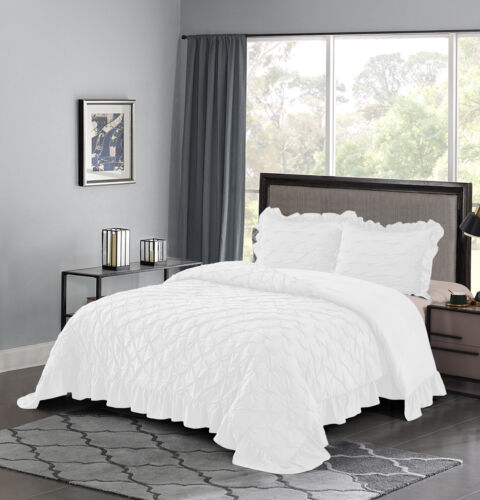 HIG 3 Piece Lace Ruffled Shabby Chic French pastoral style Comforter Set-White