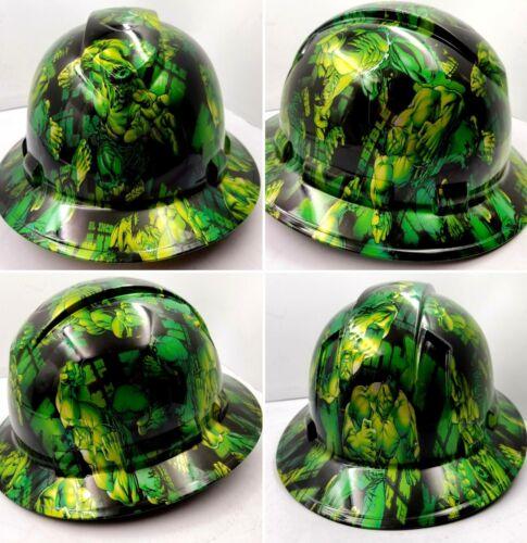 Hard Hat FULL BRIM custom hydro dipped , OSHA approved GREEN HULK NEW KILLER 4