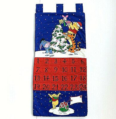 "Winnie the Pooh Fabric Holiday Advent Calendar w Tigger Piglet Eeyore 29"" long"