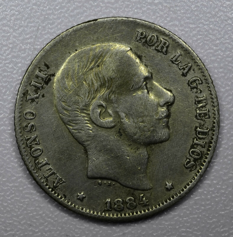 Philippines 20 Centavos 1884 silver KM#149 golden hues ! SEE PICTURE !