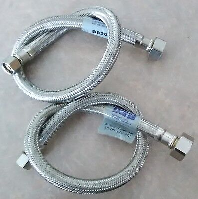 Two 20 Inch Stainless Steel Sink Faucet Supply Line Hose w/ 3/8 comp X 1/2 FIP 3 Comp Stainless Steel Sink