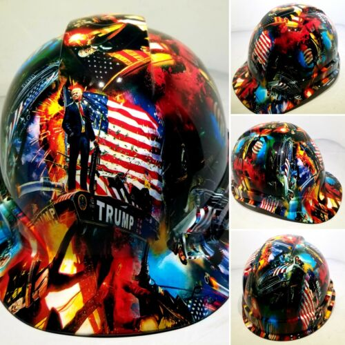 Hard Hat Cap style Custom hydro dipped DONALD TRUMP MAGA FACTORY APPROVED NEW 6