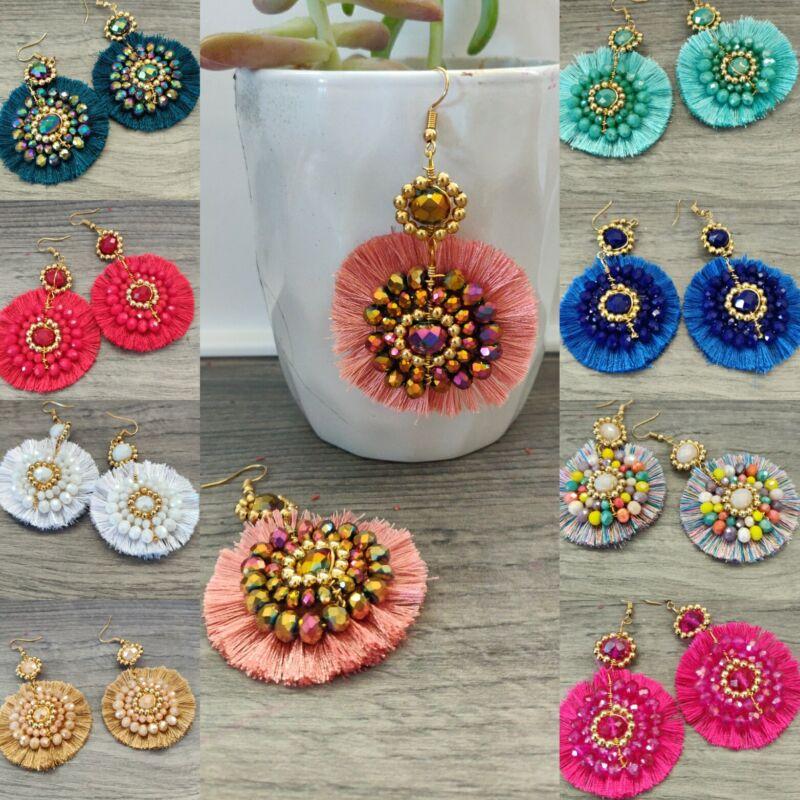 Aretes de moda de mujer ,boho , cristal , lote  20 pares  Artesanal Méxicano.