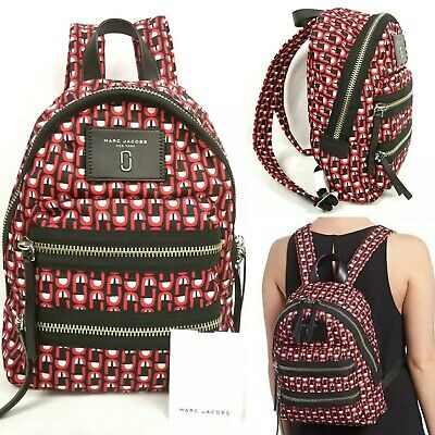 Marc Jacobs Mini Biker Nylon Backpack Logo Scream Print Red/Black/Multi