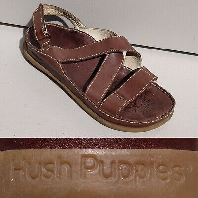 Women's Hush Puppies Brown Gladiator Sandals Flat  Size 6 Leather Velcro Comfort