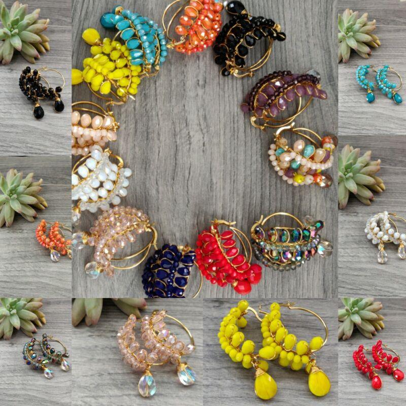 Arracadas de cristal de moda de mujer lote  20 pares Joyeria Artesanal Méxicana.