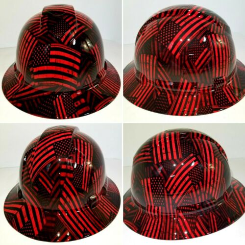 FULL BRIM Hard Hat custom hydro dipped , NEW CANDY RED USA FLAG FIREMANS FLAG 4