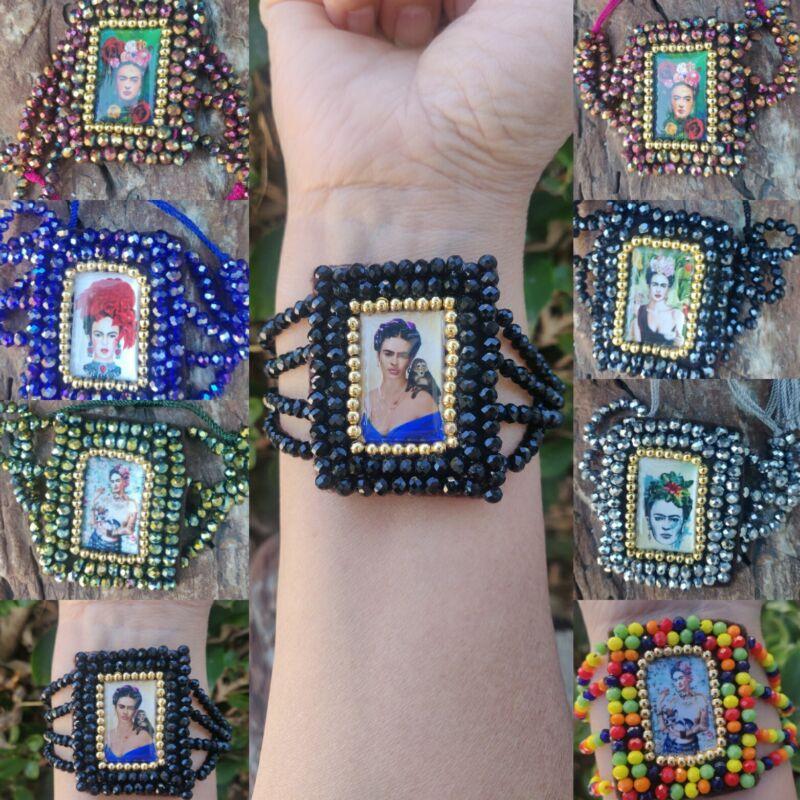 Brasalete Ajustable De Frida Kahlo Lote De 16 brasaletes Artesanal Mexicano.
