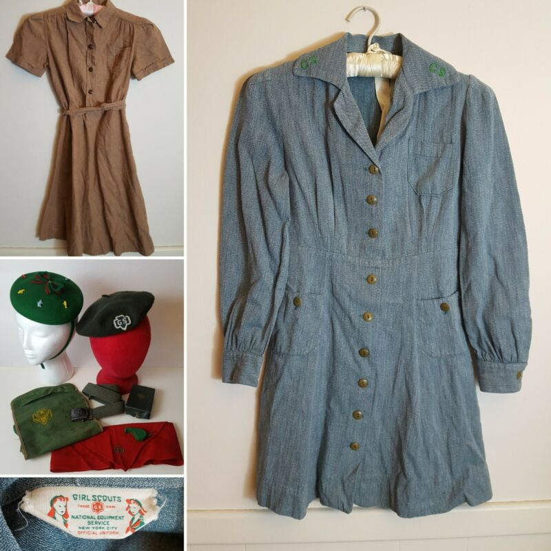 Vtg 1940s Girl Scout Uniform Lot Elf Dress Utility Belt Whistle Sewing Kit Camp