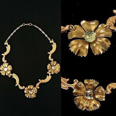 1950s Jewelry Styles and History Vintage 1950s Art Nouveau Old Hollywood Glamour Necklace Formal Occasion $58.00 AT vintagedancer.com