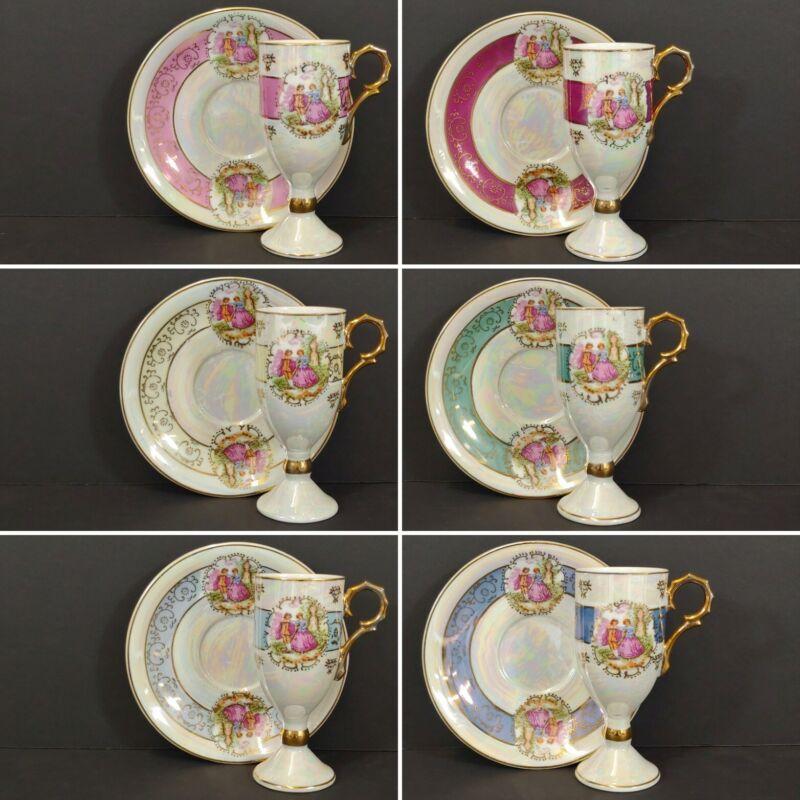 "6 Antique Royal Vienna ""1681"" PEDESTAL Tea CUP & SAUCER Victoria Courting Couple"