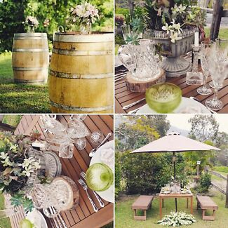 Wedding and Party Hire- Wine-Barrels, Picnic Tables, Bench Seats+