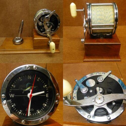 RARE Vintage 1972 MARINE TIME Co desk clock Fishing Penn Reel No.49 Clock *Works