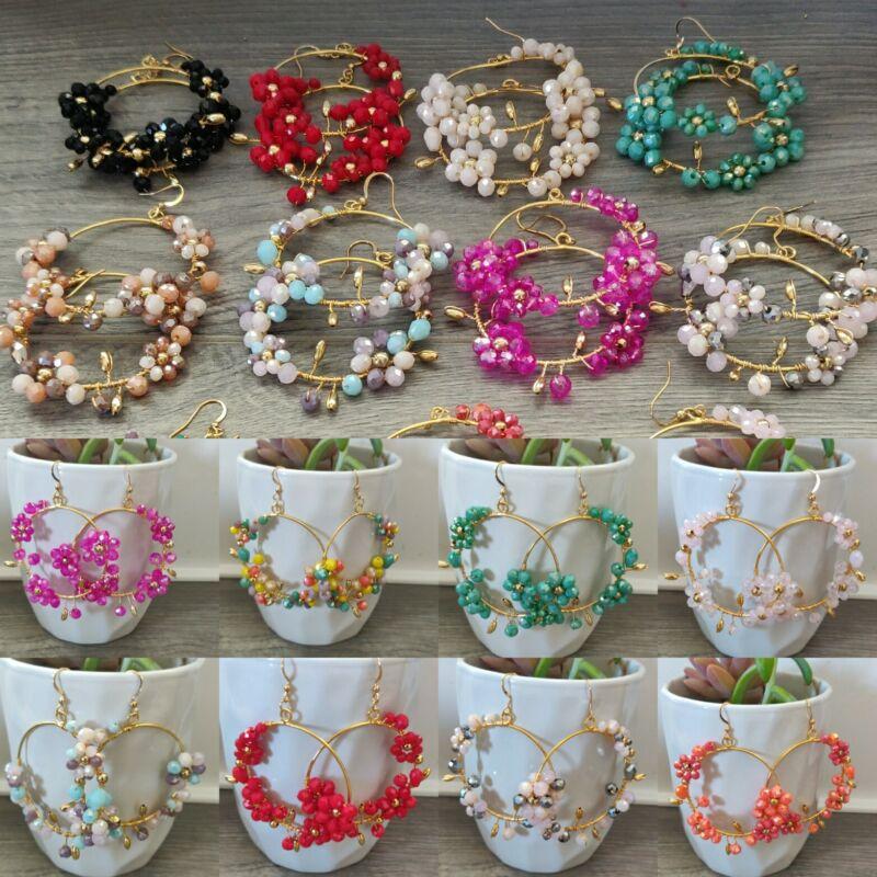 Arracadas de moda  de cristal, lote de 20 pares  Joyeria Artesanal Méxicana.