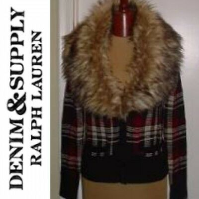 NEW M Woman's Denim & Supply Ralph Lauren Fur Trim Plaid Cardigan Sweater (Fur Trim Sweater Jacket)