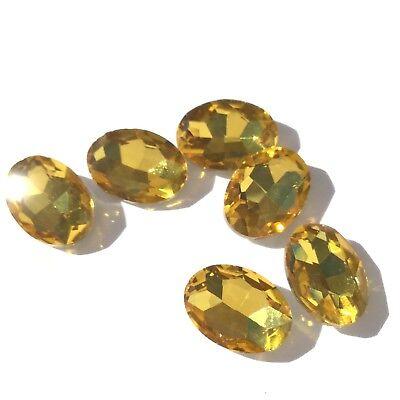 Czech Preciosa Crystal Oval Light Honey Orange 6 Loose Beads