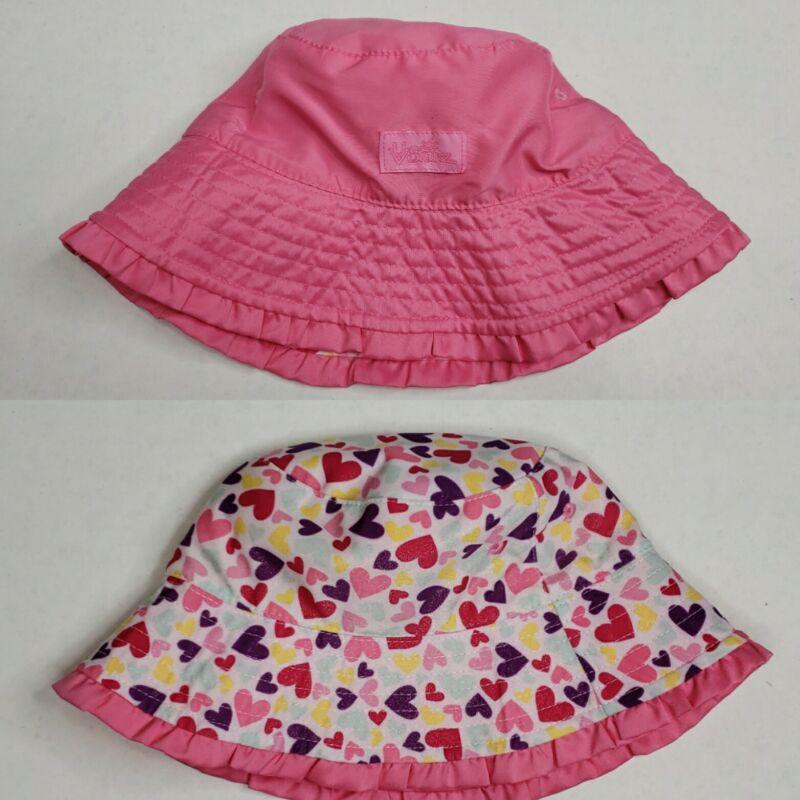 UV Skinz Bucket Hat Reversible Sun Protection Pink/ White/ Hearts Toddler EUC