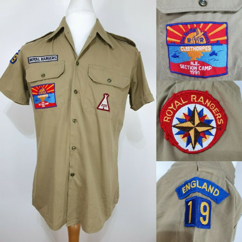 Vtg Royal Rangers Beige Shirt Cosplay Uniform Patches Size Medium Scouts 80