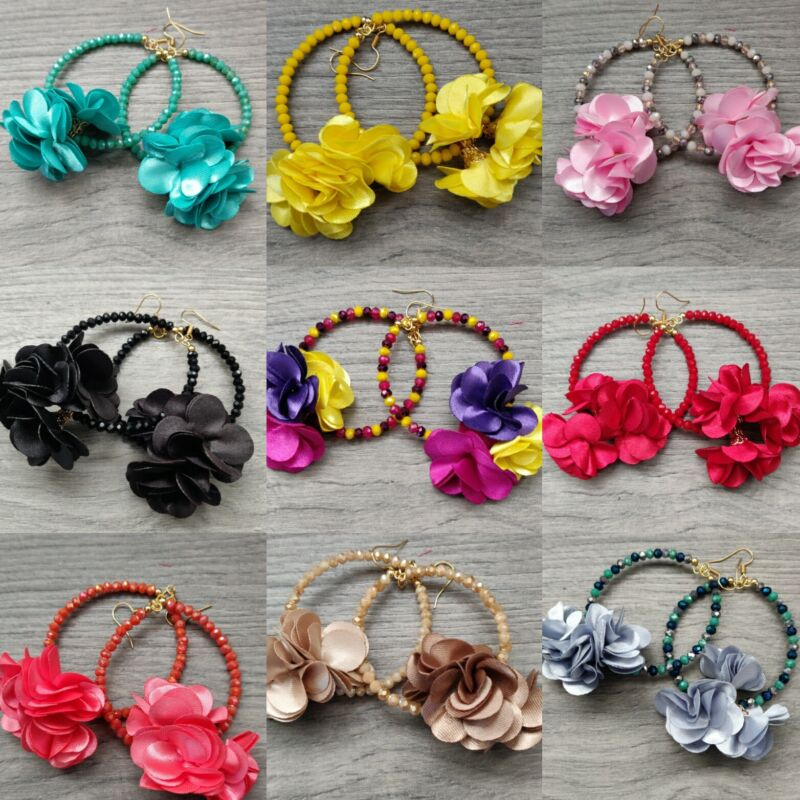 Arracadas de Flores  de mujer chapa de  14k Méxicana lote de 20 pares mayoreo