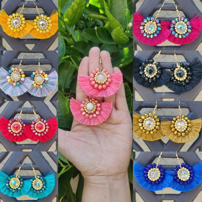 Aretes de cristal estilo sol lote de 20 pares  joyeria artesanal mexicana.