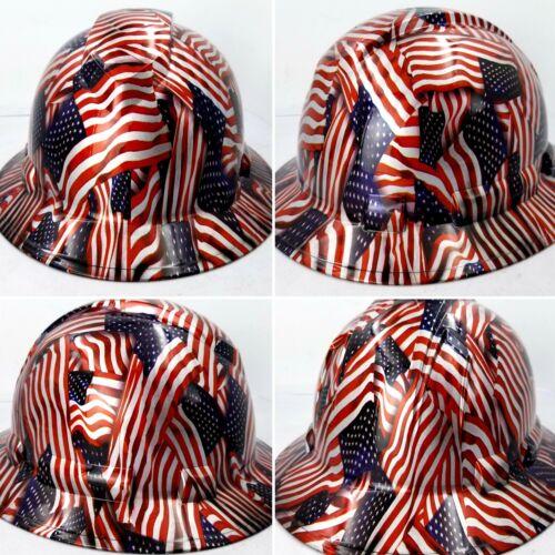 Hard Hat FULL BRIM custom hydro dipped , OSHA approved USA FLAG AMERICAN FLAG 4
