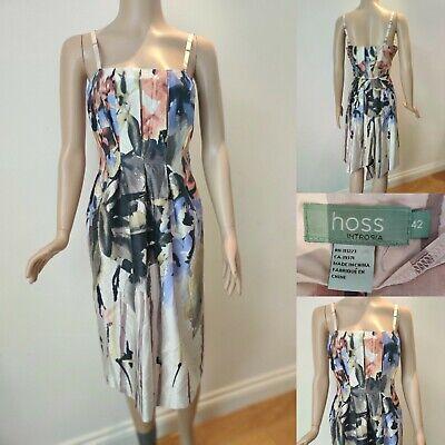 HOSS INTROPIA Silk Strappy Dress Size 42 UK 14 Floral  Summer Pretty Silk Cotton