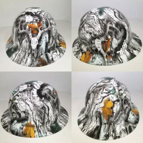 NEW FULL BRIM Hard Hat custom hydro dipped SNOW BUCK CAMO DEER HUNTER NEW SICK 4