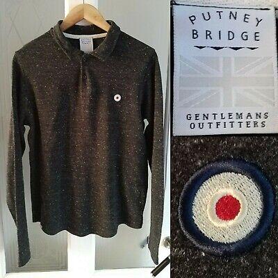 Putney Bridge (Putney Bridge Polo Shirt Sml Grey L/Sleeve Organic Cotton Wool Mod Target Design)