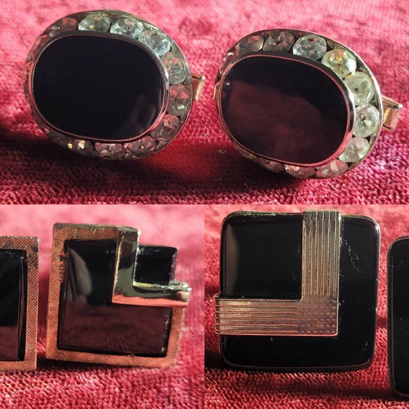 3 PAIRS BLACK GOLDTONE CUFF LINKS Retro EXCEPTIONAL DESIGN Vintage NOS LINKS