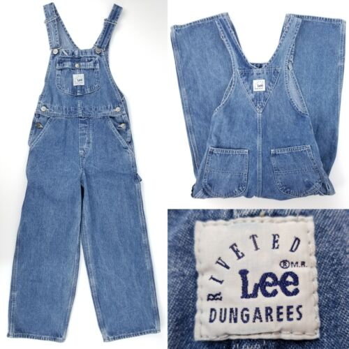 Vtg Riveted by Lee Dungarees Youth Boy Girl Small 25x22 Denim Carpenter Overalls