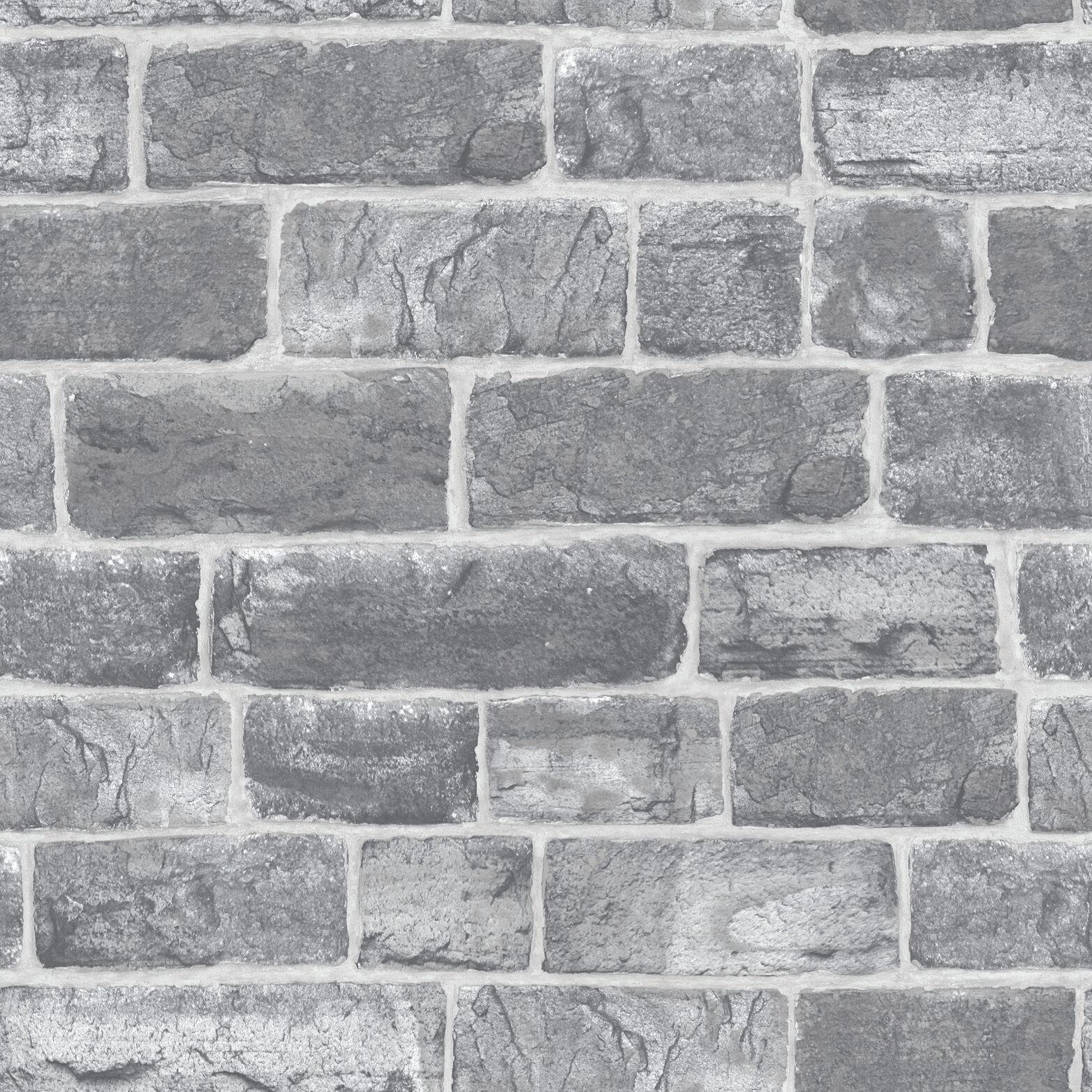 urban grey silver old brick wall quality feature designer wallpaper rasch 217346 ebay. Black Bedroom Furniture Sets. Home Design Ideas