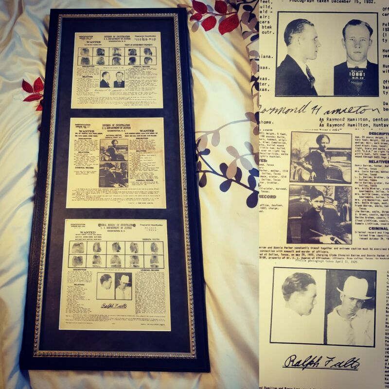 Bonnie and Clyde & Ralph Fults Raymond Hamilton Burrows Gang FBI Wanted Posters
