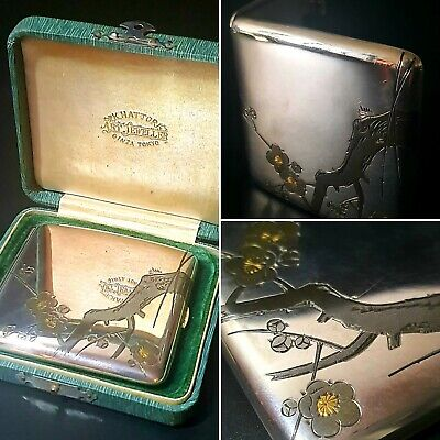 Japanese early c.19th Silver Cigarette Case by K.Hattori, Art Jeweller of Ginza,